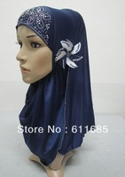 S450 fashion muslim hijab with flower,fast delivery