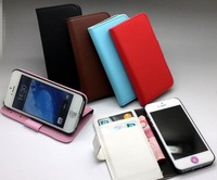 5pcs/ lot Wholesale High Quality PU Leather Wallet Case for iPhone 5, free shipping! 10 Colors Option