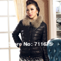 1pcs New arrival 11026 autumn PU women's coat plus size short design slim fur collar women's leather clothing