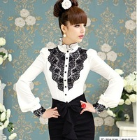 S-XXXL New Women & Lady slim elegant Long sleeve Chiffon Vintage Lace blouses/evening,office casual Vintage nobles office Shirt