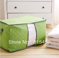 Free shipping (2 pieces/lot) Large Bamboo Storage Bag For Clothing Quilt Blanket Storage box Orange Green Blue