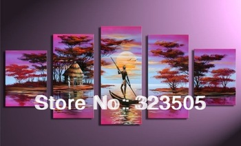 Africa artwork fishing boat 5 piece canvas art purple deco oil painting for living room decoration pictures free shipping