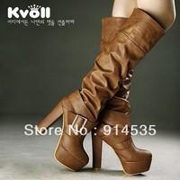 Kvoll women's shoes brown fashion platform thick heel ultra high heels boots barreled high-leg boots
