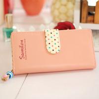 Wallets Candy color block small polka dot sweet zipper girls long wallet design
