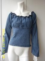 Free Shipping Women's 100% cotton elastic denim top short jacket
