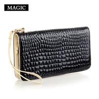 Wallets Female bag japanned leather bag long design zipper wallet female day clutch card holder