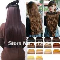 "23"" long Straight 5 Clips One piece synthetic Clip in on Hair Extensions Hairpiece for human favored 2013 fashion style hair"