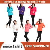 New Fashion High quality elasticity Maternity Nursing Long Sleeve O Neck T shirt cotton fadeless pregnant woman tops 8 colors