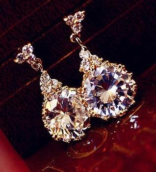 Free shipping   2013 NEW top quality Rhinestone luxury water  drop earrings  bride accessories  women jewelry