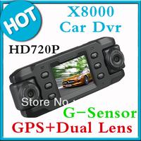 New 2013 original Dual lens Car DVR GPS logger G-sensor vehicle car dvr/ camera video recoder DVR free shipping X8000