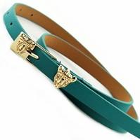 Leopard head pin buckle thin belt women's strap decoration belly chain fashion small strap