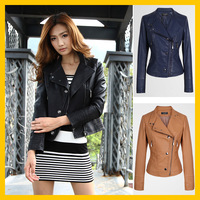 FREE SHIPPING Women's 2013 Autumn New Fashion Slim Oblique Zipper Short Design Puff Sleeve PU Leather Jacket