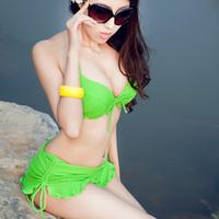 Hot spring swimwear skirt-type bikini swimwear triangle female little big steel push up swimwear