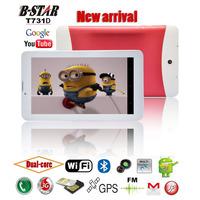 "Free shipping 7"" B-star T731D Android 4.1 tablet pc Dual core MTK6577 Dual SIM slots 1024*600 screen 3G WIFI FM Bluetooth GPS"