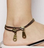 New Hot Wholesale 10Pcs Promotion Punk Vintage Bronze Double Zipper Foot Bracelet Anklet Women Gift Free Shipping