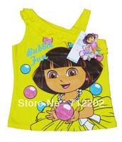 Free Shipping Brief t-Shirt Dora Children's Clothing  Punching Bag Shirt Female Child Vest Summer Short t Baby Cartoon Yellow