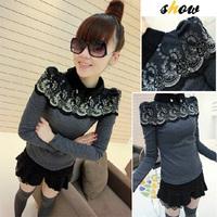 Women Fashion Sweater Rhinestone Decoration Turtleneck Pullover Lace Stitching Doll Collar Knitwear Free Shipping By HK Post