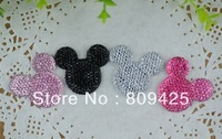 kawaii cabochons ,free shipping bling resin cabochons Mickey 40pcs mix color 3.3*3.3cm diy phone decoration