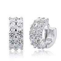 Free Shipping 925 sterling silver earrings sparkling crystal double cubic zircon ear buckle    women/men earrings fashion 2013