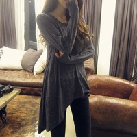 New 2013 fashion irregular sweep o-neck loose t-shirt long-sleeve female T-shirts casual women shirt