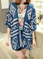 2013 autumn all-match loose graphic geometric patterns cape cloak short-sleeve cardigan women's