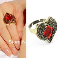 2 pieces wedding rings Fashion Retro Style Vintage Angel Wings Red Heart Gem Crystal Rhinestone Ring LKJ07 drop & free shipping