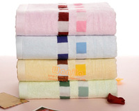 Free shipping! 2013 new 70*140CM Bamboo Fibre Embroidered Plain Woven Bath Towel For Adults 400G/PC  4 colors