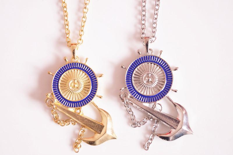 free shipping 3pcs/lot fashion metal anchor rudder navy pendant design long necklaces & pendants(China (Mainland))