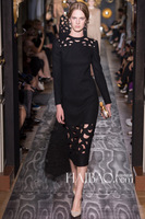 Top Grade Autumn Long-Sleeve Runway Pink And Black Women Hollow Dresses