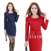 M-XXL Plus size Free Shipping 2013 autumn women's long-sleeve slim knitted autumn one-piece dress puff sleeve yfnd8325