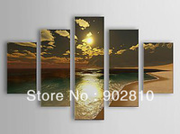 [listed in stock]-5pcs/set Free shipping Pure  Hand Painted Attractive Seascape Sandy Beach Oil Painting with Stretched Frame