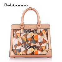 Free Shipping Mourinho 2013 bags fashion women's handbag geometry patchwork color block print cross-body handbag
