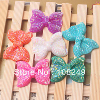 Newest hot selling glitter chunky 42*54mm resin rhinestone bows beads.Free shipping 50pcs randomly mix colors rhinestone bows.