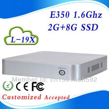 hot!! E350  L-19X DDR3 2GB  RAM 8g SSD smallest windows pc desktop pc microphones support Windows 7, WIFI, Webcam, HDMI