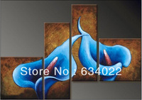 Art Modern Abstract Oil Painting Blue lily Flower on Canvas Museum Quality Painting new york unique gift poster home decor