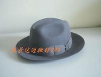 Wool fedoras jazz hat gentleman hat Dark gray