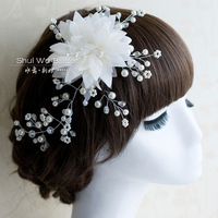 Hair accessory bride handmade silk yarn rhinestone hair accessory beaded hair accessory wedding dress style jewelry flower