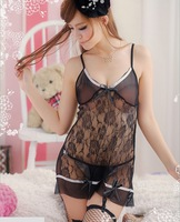 Popular Hot sale black sexy lingerie women sexy spandex sleepwear dress+pant +sock 9002 Free shipping