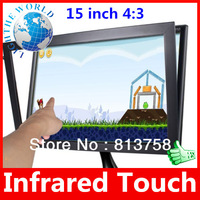 "15 inch 4:3 Infrared Multi Touch Screen Panel kit for Win7 4:3 15"" 5 Wire USB Plug Play Infrared touch screen usb touch screen"