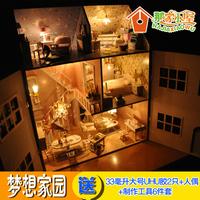 Free shipping! 3D LED light DIY wooden dream Dollhouse, Super large size luxury dollhouse