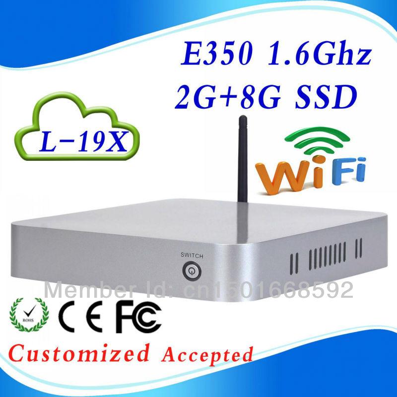 low price E350 L-19X DDR3 2g ram 8g SSD mini linux computers mini-itx case mini pc desktop os support WIN7, Linux, Windows 95,(China (Mainland))
