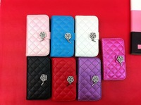2013 Brand New Durable Luxury leather flip pouch wallet cover case for Samsung Galaxy S3/SIII/I9300 mini  , 7 Colors Mix Order