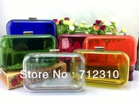 Factory Price 2014 New Women's Brief Transparent Day Clutch Designer Smile Fashion Evening Acryl Bag Handbag/7 Colors PB02