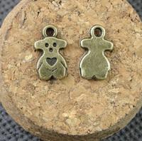 Alloy pendant, charms, animal - bear 14*8mm ,  antique brass plating, item ALP1176