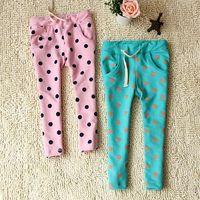 2013 children's clothing child pants big polka dot 100% cotton loop pile casual sports pants comfortable harem pants harem pants