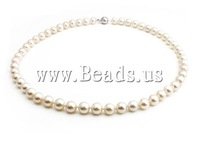 Free shipping!!!Natural Freshwater Pearl Necklace,2014 Fashion, Cultured Freshwater Pearl, with Rhinestone, brass box clasp