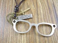 2013 popular long genuine leather cross vintage alloy glasses pendant  men women necklace & pendant sweater chain Jewelry