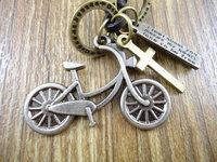 Free shipping long genuine leather cross vintage alloy cute bike pendant  men women necklace & pendant sweater chain Jewelry