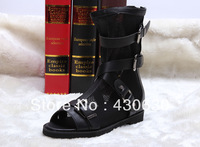 2013 Spring And Autumn Genuine Leather Flat Net Boots Black Fashion Sexy Cutout Open Toe Boots Shoes