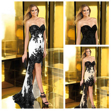 cheap black and white prom dress